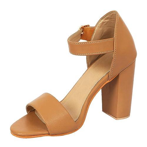 fc0ae23349e LoferKama Comfortable Beige Block Heel Sandals for Women (7)  Buy ...