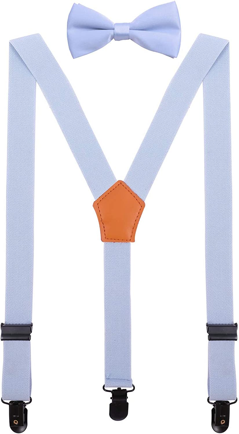 WDSKY Mens Kids Suspenders and Bow Tie Set for Wedding with Heart Clips