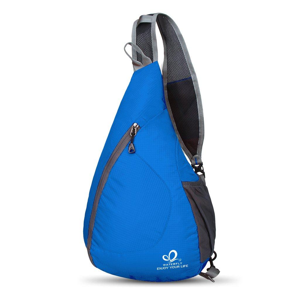 WATERFLY Sling Bag Cross Body Shoulder Bag Rucksack for Traveling Hiking Bicycling Camping