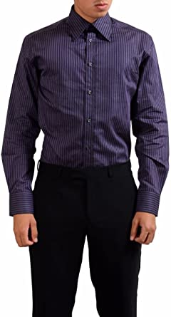 Versace Collection City Mens Dress Shirt US 16.5 IT 42; Purple
