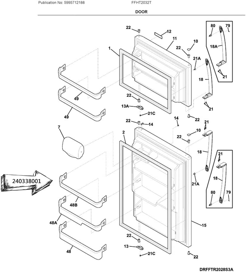 AH429871 240338005 EA429871 PS429871 240338001 Refrigerator Door Bin Shelf Bar Compatible with Frigidaire or Kenmore Refrigerator- Replaces AP2115859 891049 24.5 wide X 2.5 inches deep