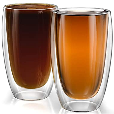 Stone & Mill Large Double Wall Drinking Glasses Set of 2-15 Ounce - Insulated Glass Cups for Coffee, Iced Tea, Latte, Cappuccino AM-08