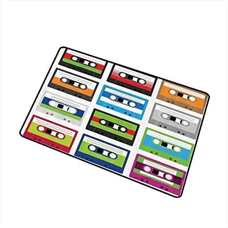 Jbgzzm Interior Door mat 90s Decorations Collection of Retro Plastic Audio Cassettes Tapes Old Technology Entertainment