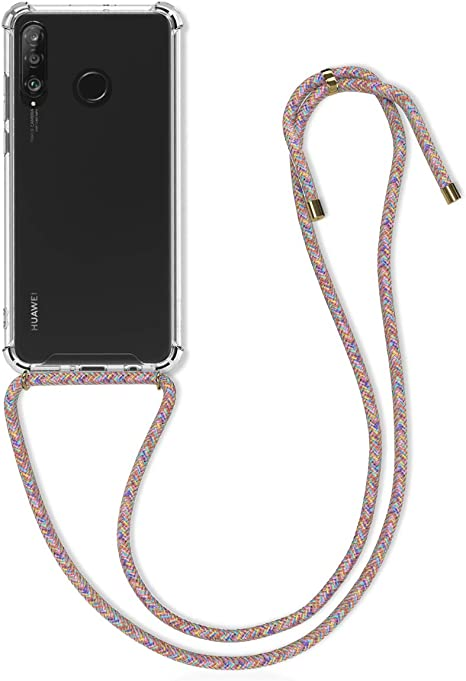 Clear Transparent TPU Cell Phone Cover with Neck Cord Lanyard Strap kwmobile Crossbody Case Compatible with Huawei P30 Lite Transparent