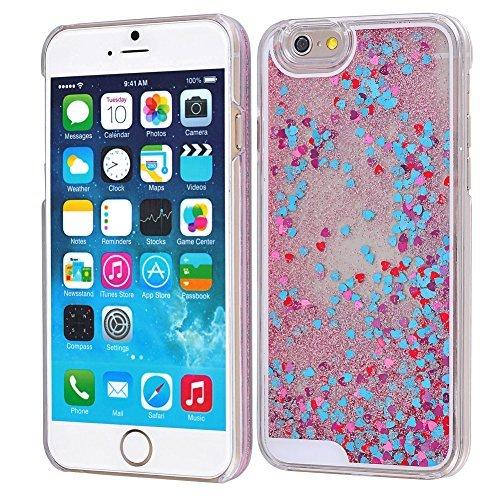 Yoption Transparent Plastic 3D Glitter Quicksand and Heart Liquid Case for Apple iPhone 6 iPhone 6s 4.7