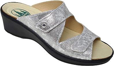 Damen Keilpantolette Silver aus Leder Größe 37 bis 41 Weite