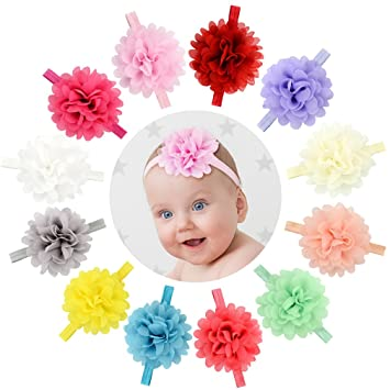Amazon Com Yariew 12 Pcs Baby Girls Flower Headbands Elastic Hair