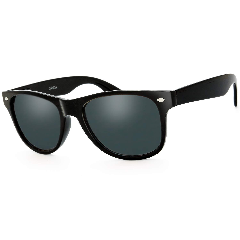 The Fresh Classic Shaped Horn Rimmed Wayfarer Polarized Sunglasses Spring Temple for Men Women (10-Shiny Black, Grey Polarized)