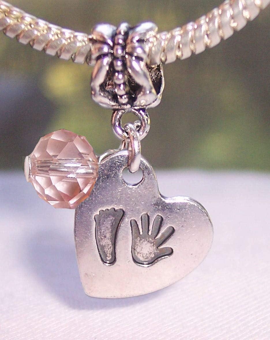 Charm Crazy October Birthstone Baby Hand Print Footprint Heart Dangle Charm Bead for European Bracelet