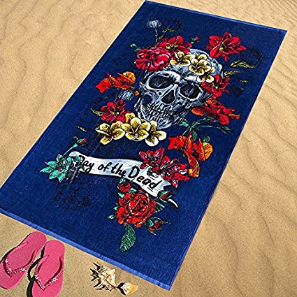 Regalitostv Day of The Dead* Toalla Playa Grande 95 X 175 CM Tacto Terciopelo 100