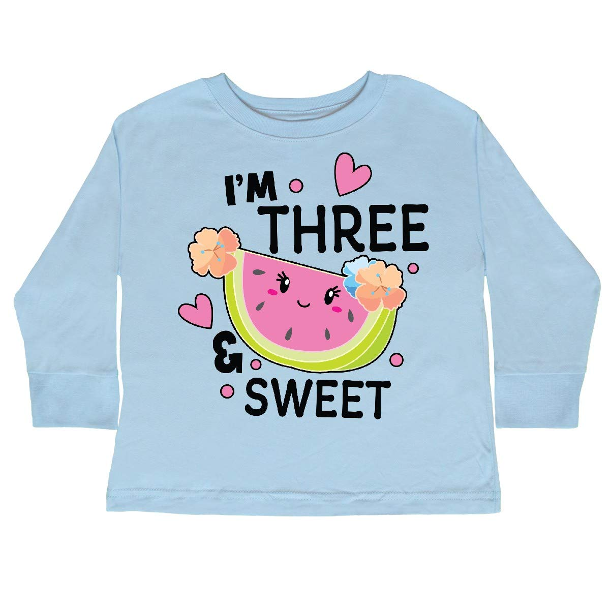 inktastic Im 3 and Sweet with Cute Watermelon Toddler Long Sleeve T-Shirt