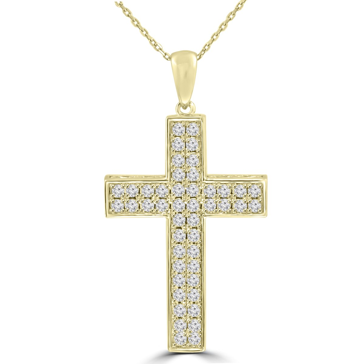 1.61 ct t.w. Round Cut Diamond Cross Pendant Necklace in 14 kt Yellow Gold