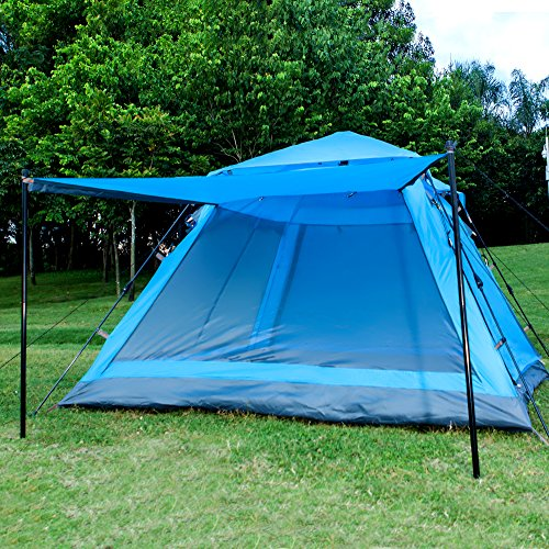 Funs Instant Setup (4-5 Person) 3 Season Water Resistant Tent. Double Door, Double Window, with Canvas Porch. Seconds to Set up and Tear Down. (blue) (Quest Sport Dome Canopy compare prices)