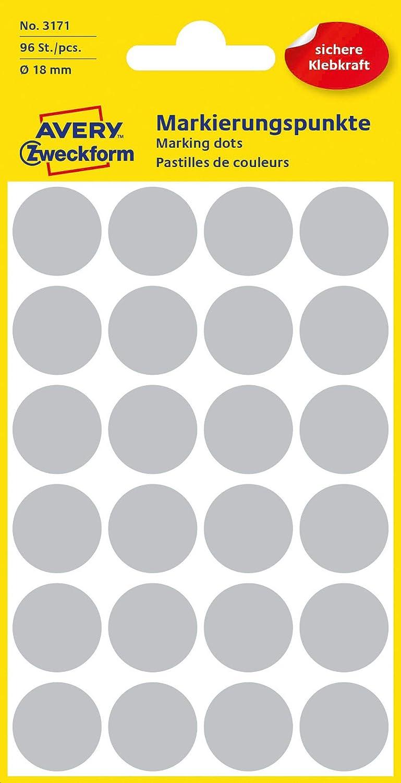 Lot de 96 pi/èces, /Ø 18 mm, 4 feuilles gris AVERY Zweckform 3171 Pastilles adh/ésives