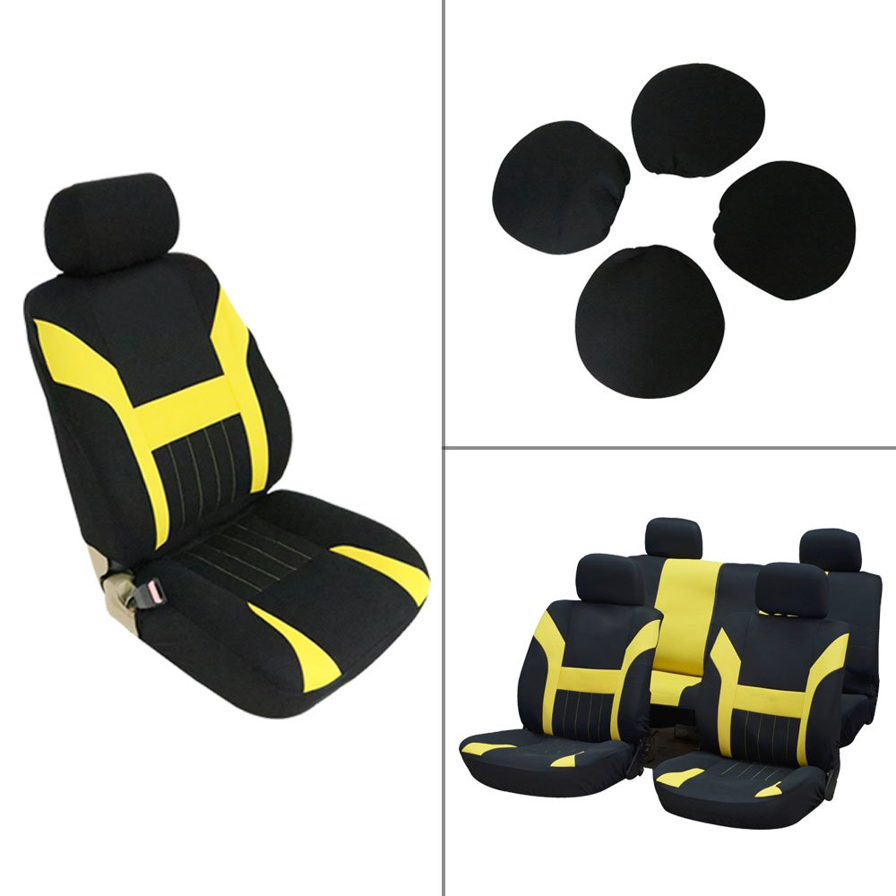 ECCPP Universal Car Seat Cover w/Headrest - 100% Breathable Polyester Stretchy Durable for Most Cars Trucks Vans(Black/Yellow)