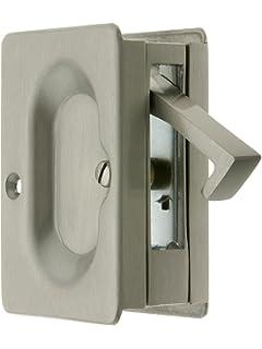 Premium Quality Mid Century Pocket Door Passage Set In Satin Nickel