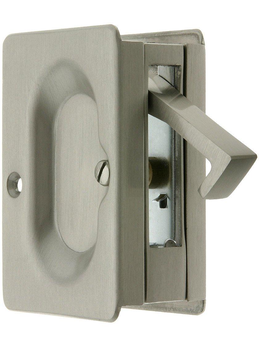 pocket door hardware. Premium Quality Mid-Century Pocket Door Passage Set In Satin Nickel - Amazon.com Hardware