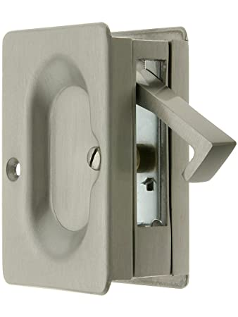premium quality midcentury pocket door passage set in satin nickel pocket door hardware