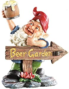 "Accents Depot Beer Garden Gnome Lawn Ornament, Hand Painted Resin. 10"" Tall."