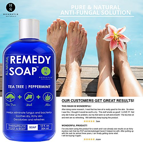 Remedy Antifungal Wash Athlete's Foot, Fungus, Ringworm, Infections and Irritations. 100% Natural Tea Tree & Aloe 12 oz