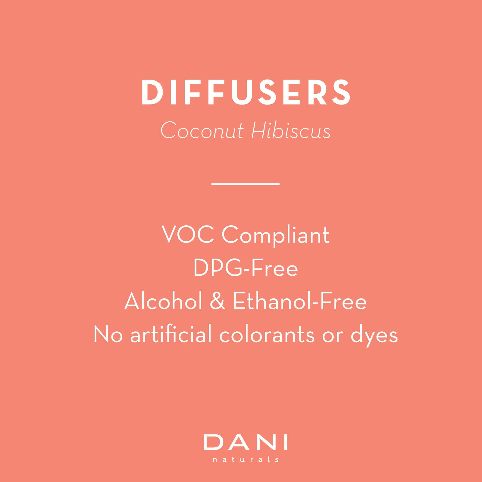 Natural Reed Diffuser Set by DANI Naturals - Tropical Coconut Hibiscus Scent - Aromatherapy Essential Oils - Alcohol Free - 10 Diffuser Sticks - 3.5 Ounce Glass Bottle by DANI (Image #3)