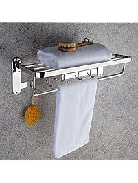 No Need Drilling,Bathroom Hotel Towel Bar Rack Hanger Shelves With Multiple  Hook,SUS