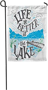 daoyiqi Garden Flags Funny Flag Seasonal Flag 12x18 Inches Life is Better at The Lake House Sign in Vintage for Rustic Wall Lakeside Living Cabin Cottage Hand Outdoor Decorative Yard Flag
