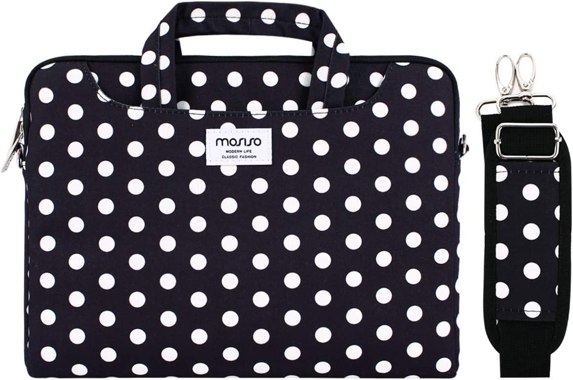 MOSISO Laptop Shoulder Bag Compatible with 13-13.3 inch MacBook Pro, MacBook Air, Notebook Computer, Dots Carrying Briefcase Sleeve with Trolley Belt, Black