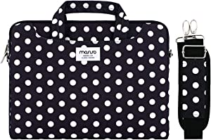 MOSISO Laptop Shoulder Bag Compatible with 2019 MacBook Pro 16 inch A2141, 15 15.4 15.6 inch Dell Lenovo HP Asus Acer Samsung Sony Chromebook, Dots Carrying Briefcase Sleeve with Trolley Belt, Black