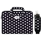 MOSISO Laptop Shoulder Bag Compatible with 13-13.3 inch MacBook Pro, MacBook Air, Notebook Computer, Pattern Briefcase Sleeve with Trolley Belt, Black Base White Dots