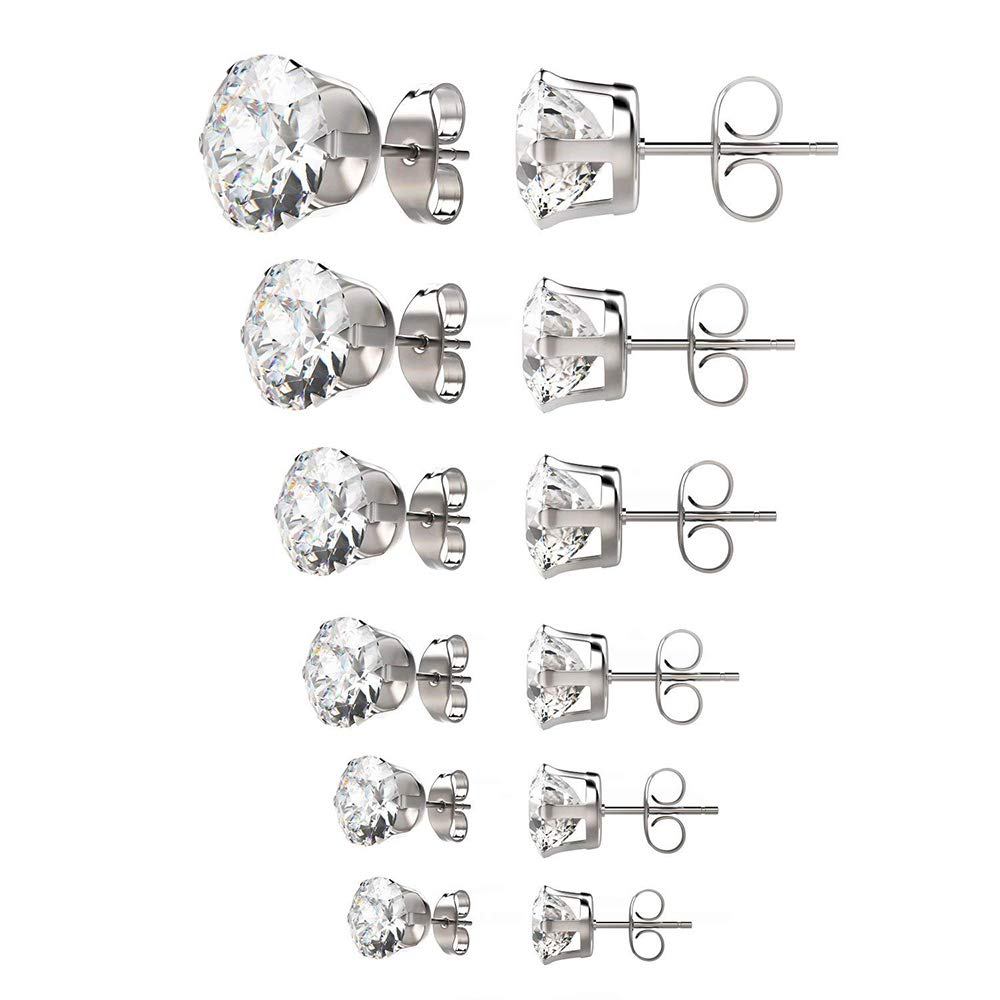 KanGa Surgical Stainless Steel Stud Earrings Set Hypoallergenic Pierced Cubic Zirconia 6 Pairs 3-8mm(White) by KanGa