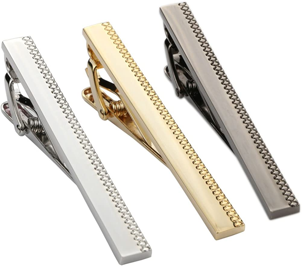 Dannyshi 3pcs Set Mens Metal Classic Tie Bar Clip Silver, Black, Gold Tone, 2.3 Inches with Gift Box