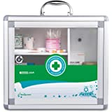 Glosen Wall Mounted and Portable Type 3 Layers Metal Storage Container with Child Safety Lock Household Medicine Cabinet Green (Dark Green)