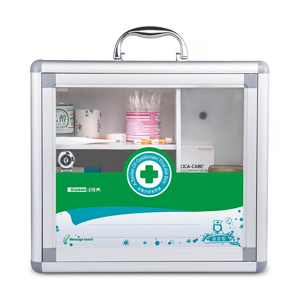 Glosen Medicine Cabinet with Lock Wall Mounted First Aid Storage Container Medium Capacity Green