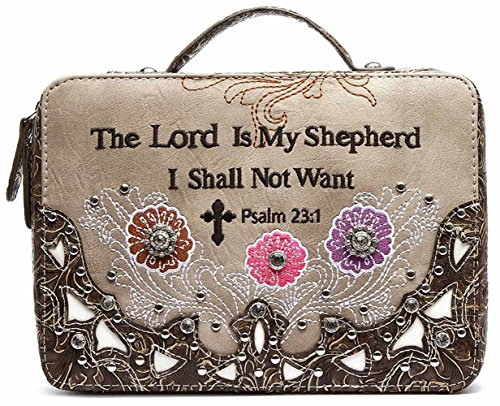 - Embroidery Scripture Bible Verse Psalm 23:1 Western Country Bible Cover Handle Books Case Cross Purse (Brown)