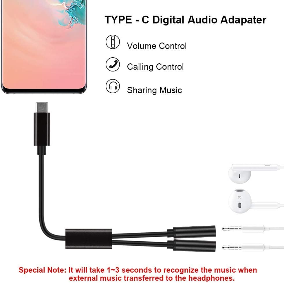 Samsung J/&D USB C to 2 x 3.5mm Audio Adapter MacBook Moto LG Surface iPad Pro Huawei and Widely Compatible for Google USB Type C to 3.5mm Headphone Chromebook