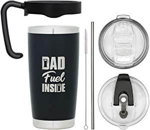 GODENZI Trekker, Dad Fuel Inside, Ultimate Travel Tumbler Bundle, Black, 20oz Insulated Travel Mug, Stainless Steel, 6 piece Coffee set, Gift Boxed…