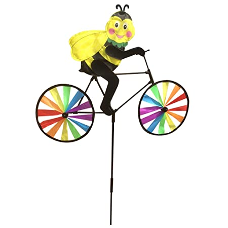 AmWISH Colorful Bee on Bike Windmill Whirligig Wheel Garden Lawn Yard Festival Decor Kids Outdoor Toy