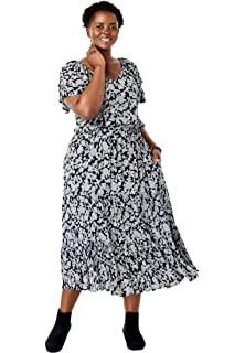 7eeb2f1f64c Woman Within Plus Size Short Button-Front Crinkle Dress at Amazon ...