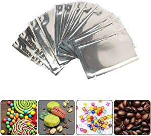 100x Smell Proof MYLAR Alluminium Foil Bags Heat Seal Storage Bags Pouches Food Storage Vacuum Sealer Open Top (4