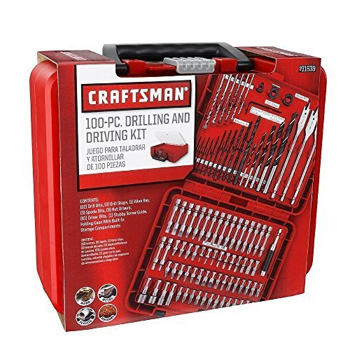 Craftsman 100-pc Accessory Set Drill Bit Driver Screw Tools Kit Case 31639, New,