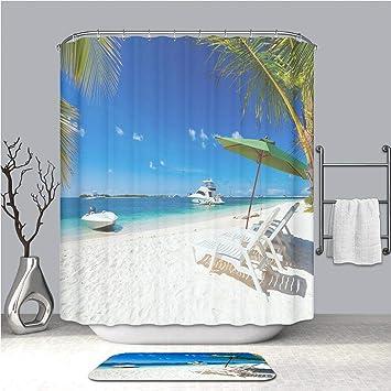 Beach Coconut Tree Bathroom Decor Waterproof Fabric Shower Curtain Bath Rugs Mat