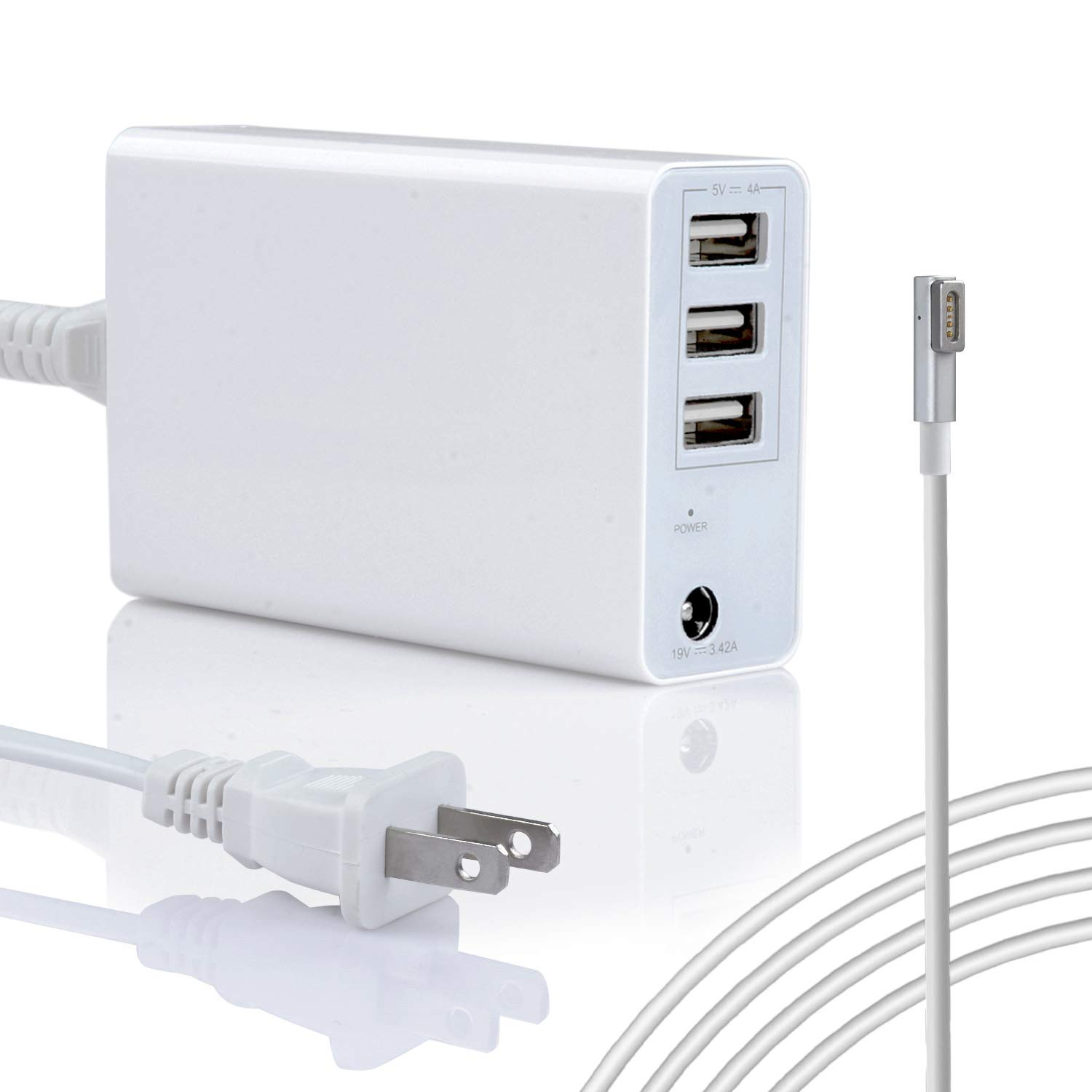45W/60W Charger for Apple MacBook Pro/Air 11 13 inch Made Before Mid 2012,  Replacement for Magsafe 1 L-Tip Power Adapter w/ 3USB Ports