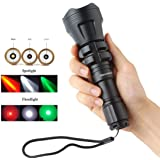 SecurityIng Hunting Flashlight XM-L2 U4 Red / Green / White Led 900LM Zoomable Waterproof Tactical Torch + Remote Pressure Switch + Battery