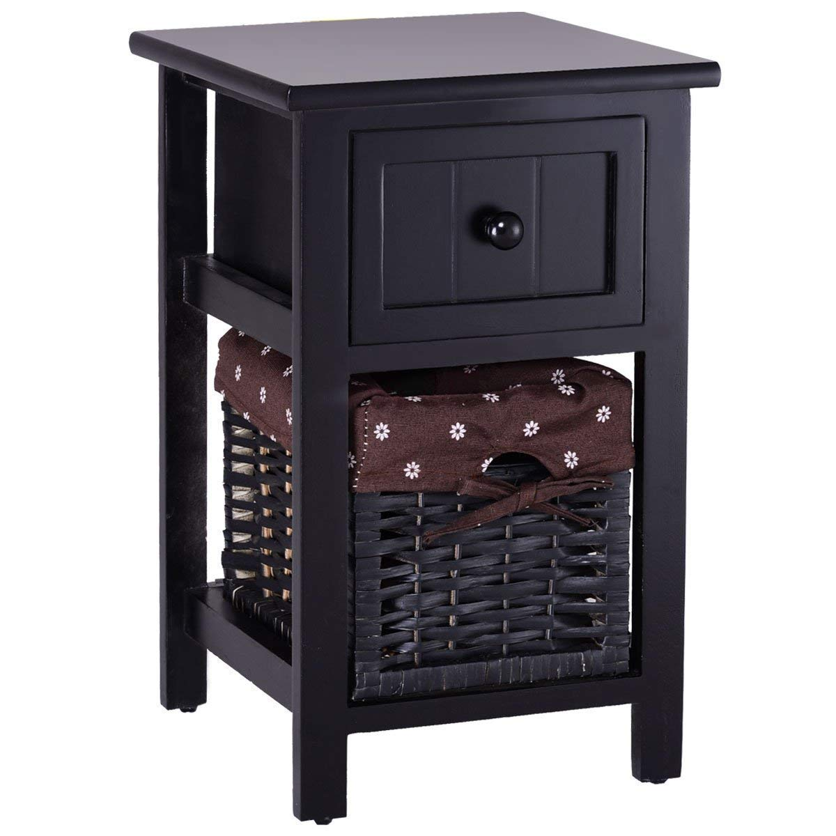Giantex Nightstand 2 Tier End Table Bedside Compact Organizer Wooden W/Drawer & Basket for Living Room Bedroom Home Furniture Side Small End Tables (1, Black)