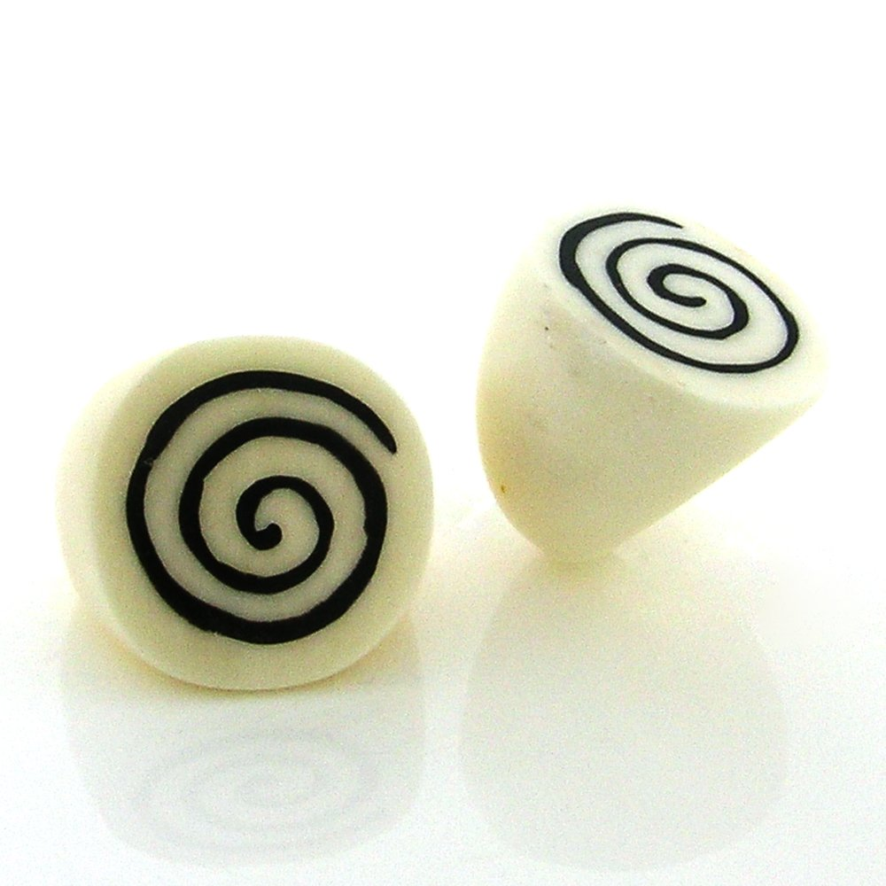 Handmade, Organic Bentawa Wood with Spiral Design Faux Ivory Look Ring (7.5)
