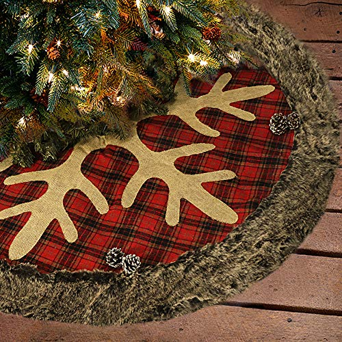 Ivenf Christmas Tree Skirt, 48 inches Large Burlap Plaid Snowflake with Thick Faux Fur Edge Skirt, Rustic Xmas Tree Holiday Decorations