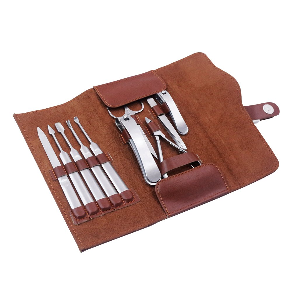 Manicure Set Nail Clipper Tools Pedicure Women Stainless Steel Scissors Case Nail Nipper 10 in 1 with Luxurious Leather Travel Case
