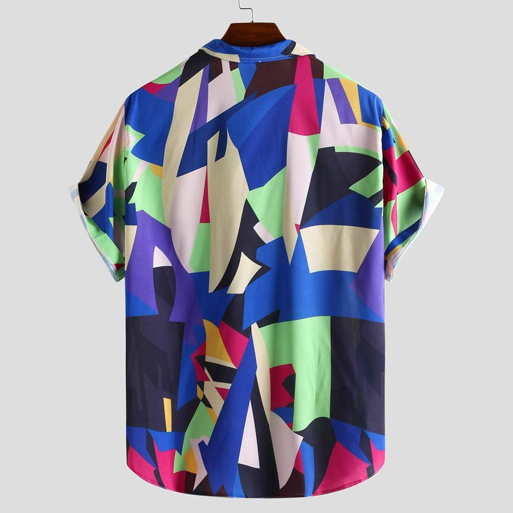 HTHJSCO Mens Summer Hawaiian Shirt Floral Print Short Sleeve Funky Button Down Graphic Dress Shirts for Casual