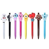Yuxareen 8Pcs Kpop BTS Ballpoint Pen Bangtan Boys Cute Cartoon Acrylic Head Black Ink Office School Stationery Product